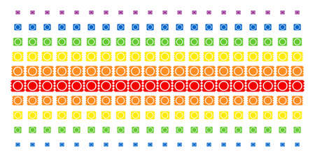 Condom Package icon spectral halftone pattern. Vector shapes organized into halftone grid with vertical rainbow colors gradient. Designed for backgrounds, covers, templates and abstract compositions.