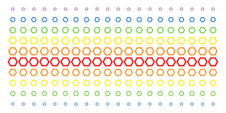 Contour Hexagon icon spectral halftone pattern. Vector objects organized into halftone matrix with vertical spectral gradient. Designed for backgrounds, covers, templates and abstract effects. Ilustração
