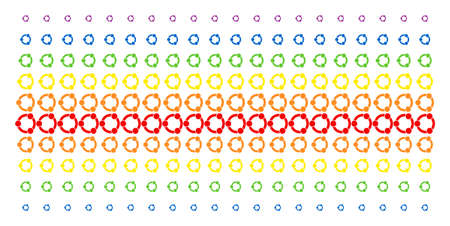 Cooperation icon rainbow colored halftone pattern. Vector items organized into halftone array with vertical spectral gradient. Constructed for backgrounds, covers, templates and abstraction effects.