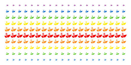 Eco Startup icon rainbow colored halftone pattern. Vector items arranged into halftone array with vertical rainbow colors gradient. Designed for backgrounds, covers,