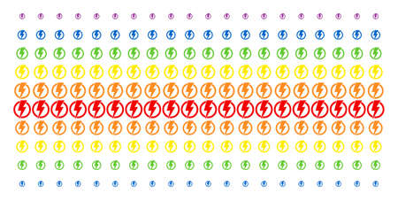 Electricity icon spectral halftone pattern. Vector symbols organized into halftone grid with vertical spectrum gradient. Constructed for backgrounds, covers, templates and abstraction concepts. Illustration