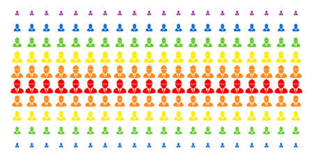 Engineer icon spectrum halftone pattern. Vector shapes arranged into halftone array with vertical rainbow colors gradient. Constructed for backgrounds, covers, templates and abstraction compositions.