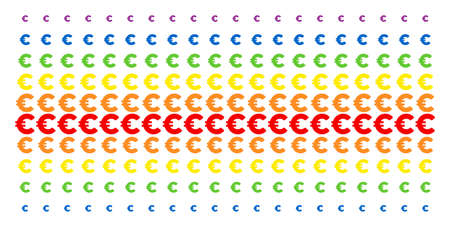Euro icon rainbow colored halftone pattern. Vector items arranged into halftone array with vertical spectral gradient. Designed for backgrounds, covers, templates and abstract concepts. Illustration