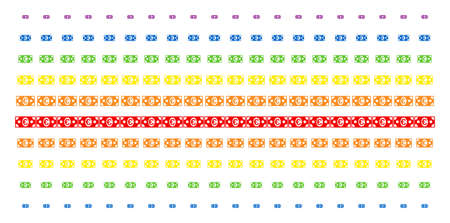Euro Banknote icon spectrum halftone pattern. Vector items arranged into halftone array with vertical rainbow colors gradient. Constructed for backgrounds, covers, Illustration