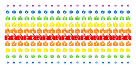 Euro Checkbook icon spectral halftone pattern. Vector shapes organized into halftone grid with vertical rainbow colors gradient. Constructed for backgrounds, covers,