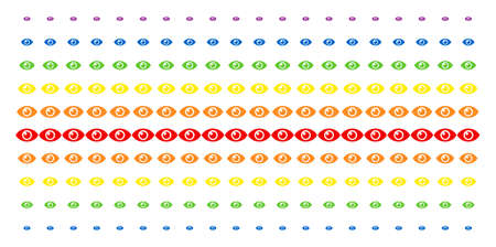 Eye icon spectral halftone pattern. Vector items arranged into halftone grid with vertical spectral gradient. Designed for backgrounds, covers, templates and abstraction concepts.