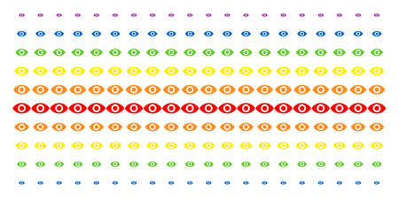 Eye icon spectral halftone pattern. Vector shapes arranged into halftone matrix with vertical rainbow colors gradient. Constructed for backgrounds, covers, templates and abstract effects.