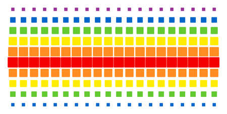 Filled Square icon rainbow colored halftone pattern. Vector symbols organized into halftone matrix with vertical spectral gradient. Designed for backgrounds, covers,