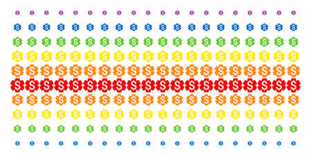 Financial Settings Gear icon spectral halftone pattern. Vector items arranged into halftone matrix with vertical spectrum gradient. Designed for backgrounds, covers,