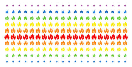 Fire icon spectral halftone pattern. Vector symbols arranged into halftone grid with vertical spectrum gradient. Constructed for backgrounds, covers, templates and abstraction compositions.