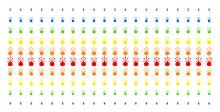 Fireworks Detonator icon rainbow colored halftone pattern. Vector items organized into halftone grid with vertical rainbow colors gradient. Designed for backgrounds, covers, Illustration