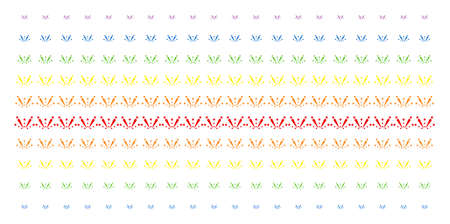 Fireworks Explosion icon spectrum halftone pattern. Vector objects organized into halftone matrix with vertical rainbow colors gradient. Constructed for backgrounds, covers,