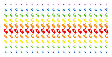 Human Embryo icon spectrum halftone pattern. Vector symbols arranged into halftone matrix with vertical rainbow colors gradient. Constructed for backgrounds, covers, templates and abstract effects.