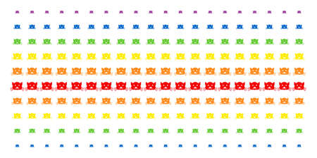 Kitty icon spectrum halftone pattern. Vector pictograms arranged into halftone matrix with vertical spectrum gradient. Designed for backgrounds, covers, templates and abstract compositions. Illustration