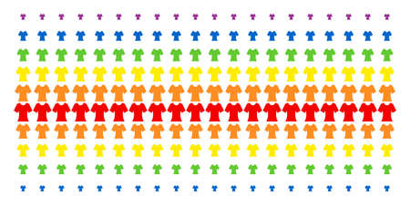 Lady T-Shirt icon rainbow colored halftone pattern. Vector pictograms organized into halftone matrix with vertical spectrum gradient. Designed for backgrounds, covers,