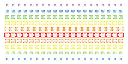 License icon spectral halftone pattern. Vector items arranged into halftone matrix with vertical spectral gradient. Designed for backgrounds, covers, templates and abstraction effects.
