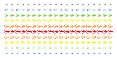 Logout icon spectrum halftone pattern. Vector shapes arranged into halftone array with vertical spectral gradient. Constructed for backgrounds, covers, templates and abstraction compositions.