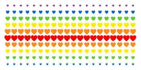 Love Heart icon rainbow colored halftone pattern. Vector shapes organized into halftone array with vertical rainbow colors gradient. Constructed for backgrounds, covers,