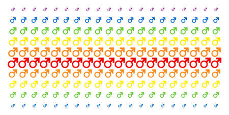 Mars Symbol icon spectrum halftone pattern. Vector shapes organized into halftone matrix with vertical spectral gradient. Designed for backgrounds, covers, templates and abstraction effects.