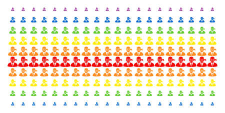 Masked Thief icon rainbow colored halftone pattern. Vector symbols arranged into halftone array with vertical spectral gradient. Designed for backgrounds, covers, templates and abstract effects.