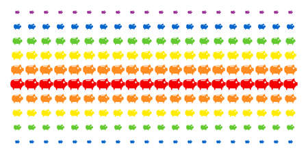 Piggy Bank icon spectrum halftone pattern. Vector objects arranged into halftone grid with vertical rainbow colors gradient. Constructed for backgrounds, covers, templates and abstract compositions.
