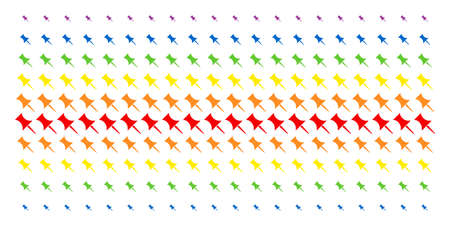 Pin icon rainbow colored halftone pattern. Vector objects organized into halftone matrix with vertical rainbow colors gradient. Constructed for backgrounds, covers,