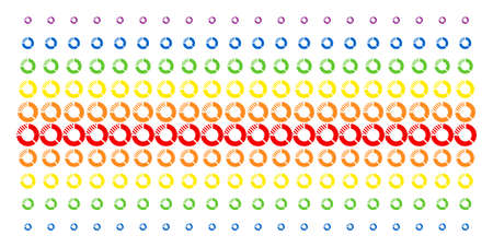Pie Chart icon rainbow colored halftone pattern. Vector pictograms arranged into halftone array with vertical spectrum gradient. Designed for backgrounds, covers,