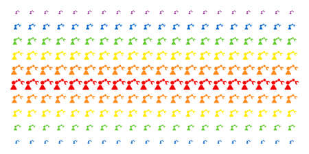 Robotics Manipulator icon spectrum halftone pattern. Vector shapes arranged into halftone grid with vertical spectral gradient. Constructed for backgrounds, covers, templates and abstract effects.