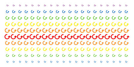 Rotate icon spectral halftone pattern. Vector shapes arranged into halftone matrix with vertical spectrum gradient. Designed for backgrounds, covers, templates and abstraction effects. Illustration