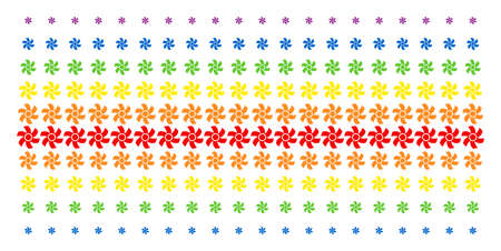 Rotor icon spectral halftone pattern. Vector pictograms arranged into halftone array with vertical spectrum gradient. Designed for backgrounds, covers, templates and abstract compositions.