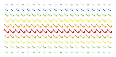 Scoop icon spectrum halftone pattern. Vector symbols arranged into halftone matrix with vertical rainbow colors gradient. Constructed for backgrounds, covers, templates and abstraction compositions.