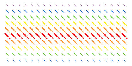 Screwdriver icon rainbow colored halftone pattern. Vector pictograms organized into halftone matrix with vertical rainbow colors gradient. Designed for backgrounds, covers,