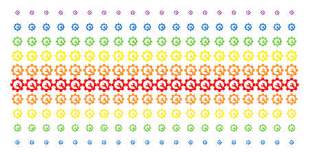 Service Tools icon spectrum halftone pattern. Vector symbols arranged into halftone grid with vertical rainbow colors gradient. Constructed for backgrounds, covers, templates and abstract concepts. Ilustração