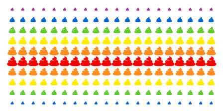 Shit icon spectrum halftone pattern. Vector objects organized into halftone array with vertical rainbow colors gradient. Constructed for backgrounds, covers, templates and abstraction concepts. Vektorové ilustrace