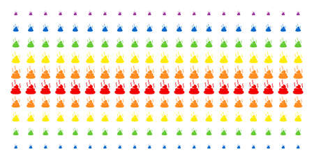 Shit Smell icon spectrum halftone pattern. Vector symbols organized into halftone grid with vertical rainbow colors gradient. Constructed for backgrounds, covers, templates and abstraction effects. Ilustração