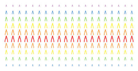 Nippers icon spectral halftone pattern. Vector symbols arranged into halftone grid with vertical rainbow colors gradient. Designed for backgrounds, covers, templates and abstract effects.