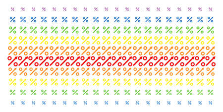 Growing Percent icon spectrum halftone pattern. Vector shapes organized into halftone grid with vertical spectrum gradient. Constructed for backgrounds, covers, templates and abstract concepts.
