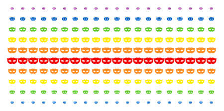 Privacy Mask icon rainbow colored halftone pattern. Vector shapes organized into halftone grid with vertical spectrum gradient. Designed for backgrounds, covers, templates and abstraction concepts.