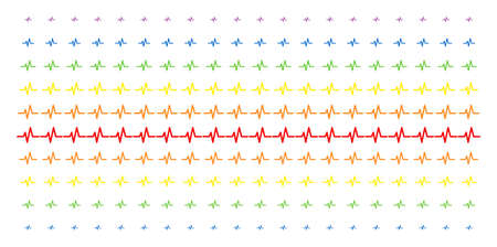 Pulse icon spectral halftone pattern. Vector objects organized into halftone array with vertical rainbow colors gradient. Designed for backgrounds, covers, templates and abstraction effects.
