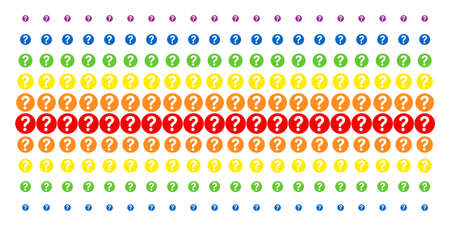 Query icon spectrum halftone pattern. Vector shapes organized into halftone matrix with vertical rainbow colors gradient. Constructed for backgrounds, covers, templates and abstract effects.