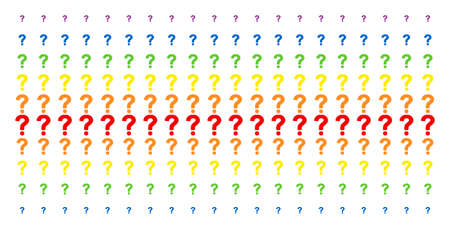 Question icon spectral halftone pattern. Vector pictograms organized into halftone array with vertical spectrum gradient. Constructed for backgrounds, covers, templates and abstraction concepts.