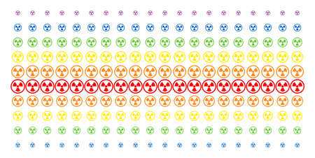 Radioactive icon spectral halftone pattern. Vector items organized into halftone grid with vertical spectral gradient. Constructed for backgrounds, covers, templates and abstraction concepts. Illustration