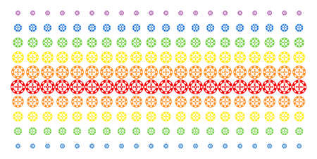 Roulette Casino Chip icon spectrum halftone pattern. Vector pictograms organized into halftone matrix with vertical spectral gradient. Constructed for backgrounds, covers,