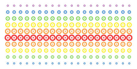 Roulette icon spectrum halftone pattern. Vector pictograms organized into halftone array with vertical rainbow colors gradient. Constructed for backgrounds, covers,