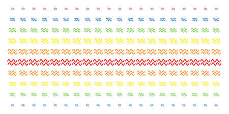 Sinusoid Waves icon spectral halftone pattern. Vector items organized into halftone grid with vertical spectral gradient.