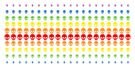 Skull icon spectrum halftone pattern. Vector items arranged into halftone matrix with vertical rainbow colors gradient.