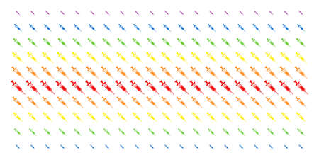 Syringe icon rainbow colored halftone pattern. Vector items arranged into halftone matrix with vertical rainbow colors gradient. Constructed for backgrounds, covers, templates and abstraction effects. Illustration