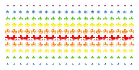Spectre Octopus icon spectral halftone pattern. Vector items organized into halftone grid with vertical spectrum gradient. Constructed for backgrounds, covers, templates and abstract compositions.