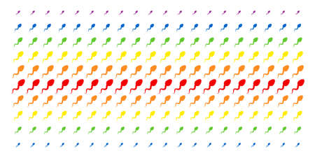 Spermatozoon icon spectrum halftone pattern. Vector objects organized into halftone matrix with vertical rainbow colors gradient. Constructed for backgrounds, covers,