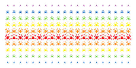 Spider icon spectral halftone pattern. Vector shapes arranged into halftone array with vertical rainbow colors gradient. Designed for backgrounds, covers, templates and abstraction effects. Illustration